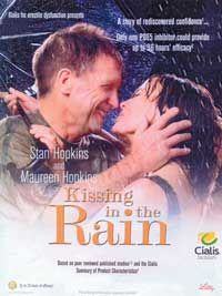 Kissing in the rain - Cialis; Erectile dysfunction