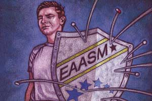 AN illustration of a young man holding a shield labelled ' EAASM'