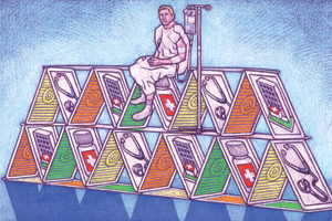 Patient atop a healthcare related house of cards