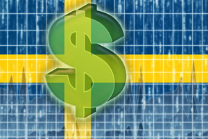 The Sweden flag with a dollar sign transposed on top of it