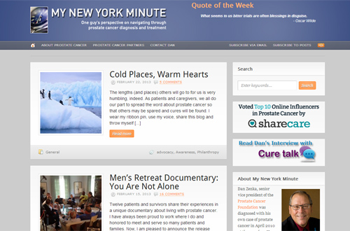 New York Minute prostate cancer blog