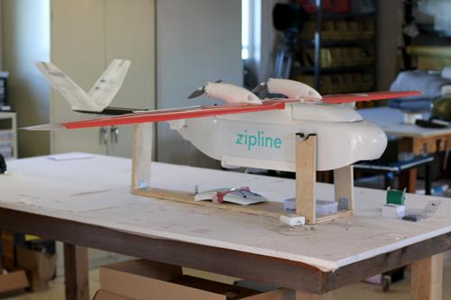 Zipline drone assembly