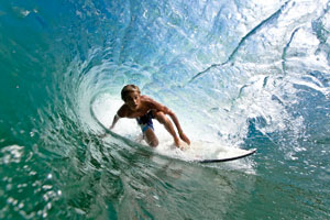 A surfer on a tidal wave
