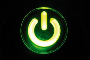 Green 'computer on' button