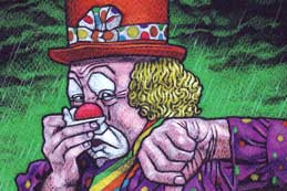 An illustration of a miserable clown