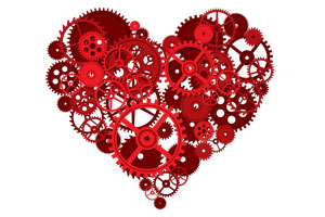 A heart made out of seperate cogs