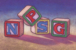 Children's letter blocks spelling 'NPSG'