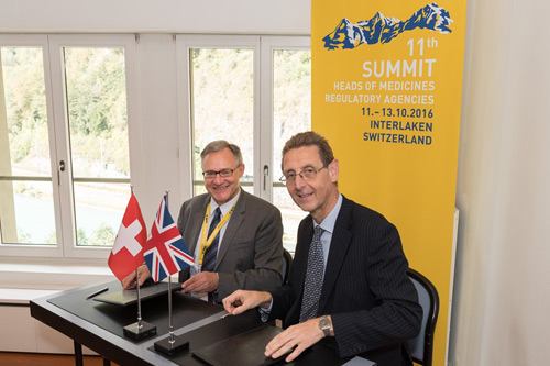 From left: Swissmedic's Jürg Schnetzer and MHRA's Dr Ian Hudson