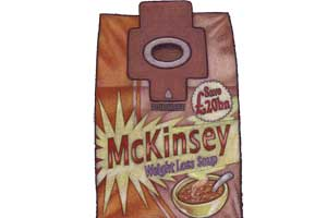 An illustration of a vacuum cleaner bag animated as a soup carton