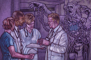 A ghost, representing the ABPI, looms over some healthcare workers