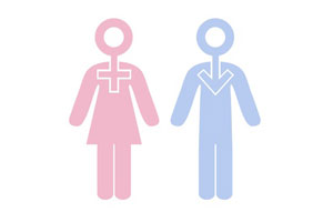 A blue male figure next to a pink female figure