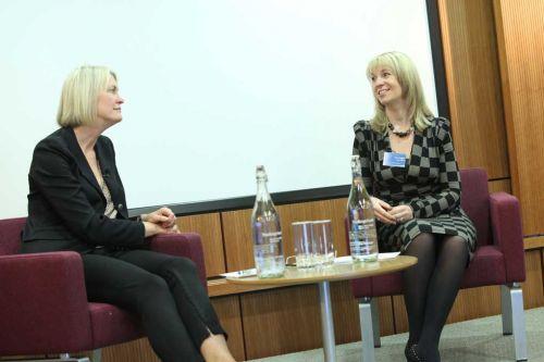Margot James speaking to Sarah Matthew