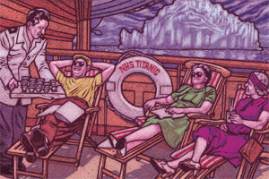 Illustration of passengers of the 'NHS Titanic' sitting in deck chairs being waited on
