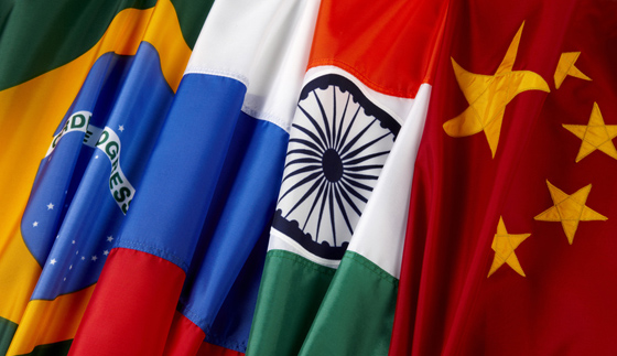 BRIC - Brazil Russia India China flags