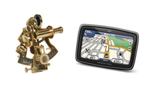 A sextant and a satnav device