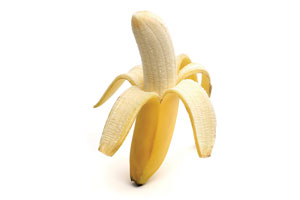 An unpeeled banana