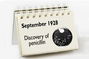 A calendar dated September 1928 - the discovery of penicillin