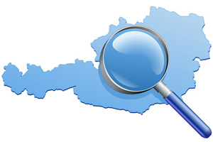 Magnifying glass over Austria