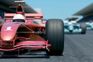 Cars racing around a track