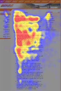 Heatmap from user eyetracking studies of a website showing an 'F' pattern