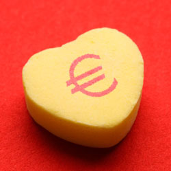A heart with a Euro sign on its face