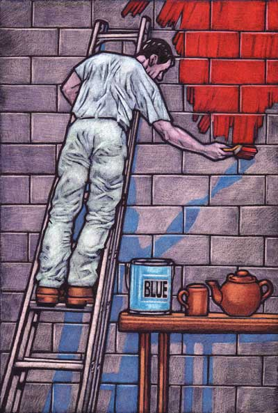 A painter painting a wall red from a paint pot with 'blue' on the side