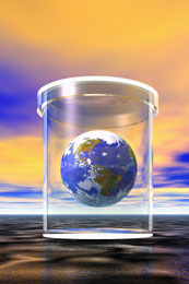 A globe in a glass case