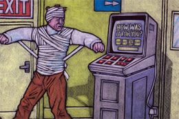Illustration of a man wrapped in bandages at a fruit machine