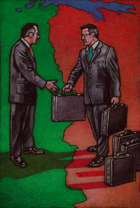 Two business men about to shake hands