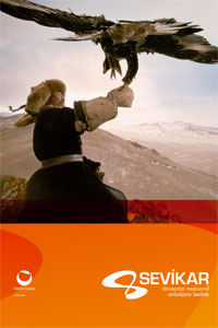 The poster for the Sevikar campaign, with a bird of prey landing on a man's arm against a mountain top backdrop