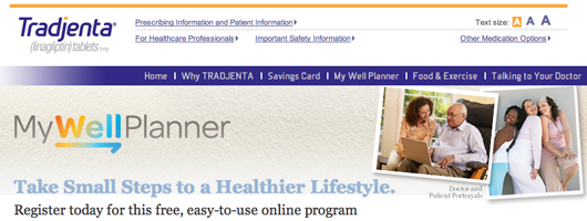 Boehringer Ingelheim - Lilly Tradjenta diabetes My Well Planner