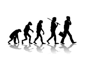 An ape gradually becoming a human