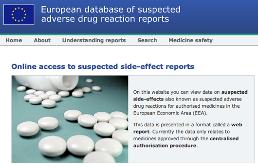 EMA adverse event reports website