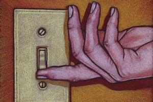 An illustration of a hand flicking a light switch