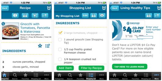 Pfizer Apple iPhone iPad healthy eating app