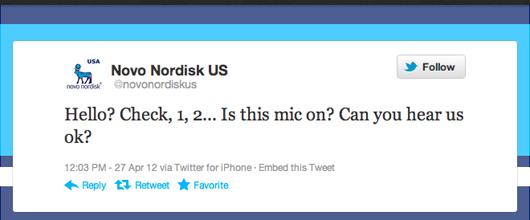 Novo Nordisk US Twitter account